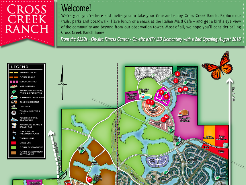 Cross Creek Ranch Model Home Tour Map