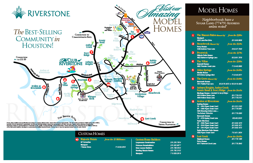 Riverstone Model Home Tour Map